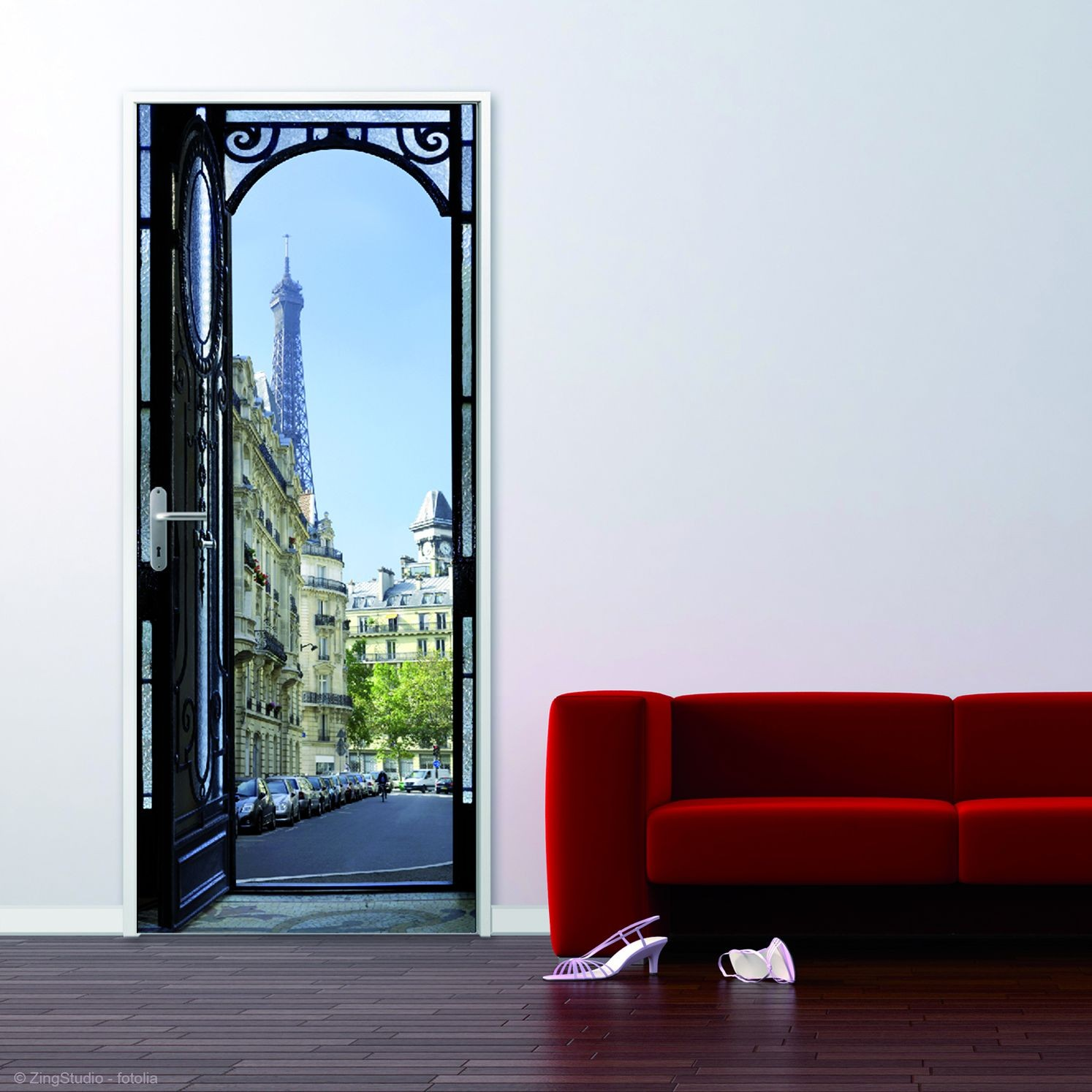 sticker de porte rue parisienne trompe l 39 oeil france avenue. Black Bedroom Furniture Sets. Home Design Ideas