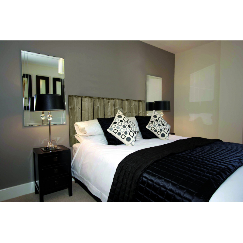 sticker t te de lit palissade en pin en trompe l 39 oeil. Black Bedroom Furniture Sets. Home Design Ideas