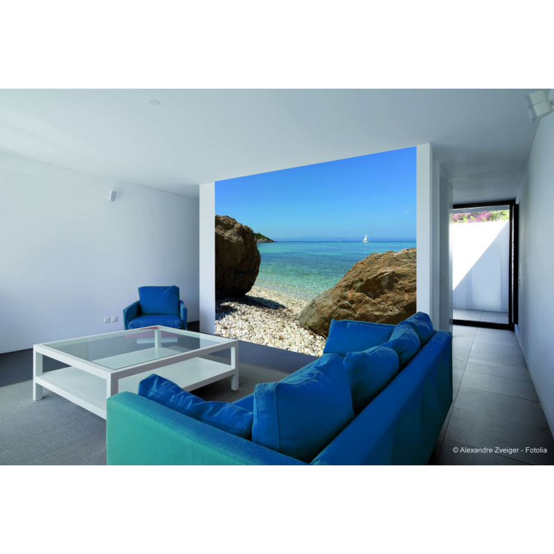 sticker mur d 39 image vue sur la plage fabricant plage 100 fran ais sur france avenue. Black Bedroom Furniture Sets. Home Design Ideas