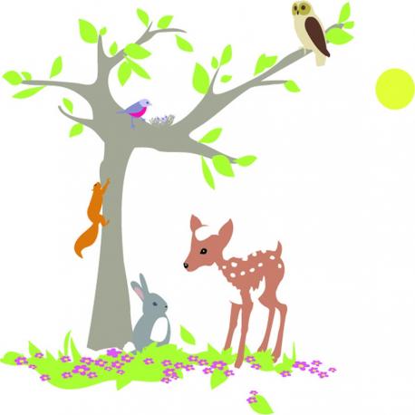 """Stickers enfant """"l'arbre de la forêt faon et lapin"""""""