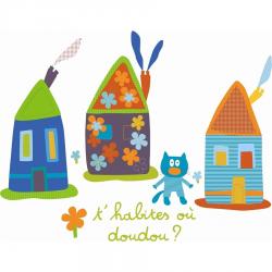 """Stickers enfant """"Maisons et doudou"""""""