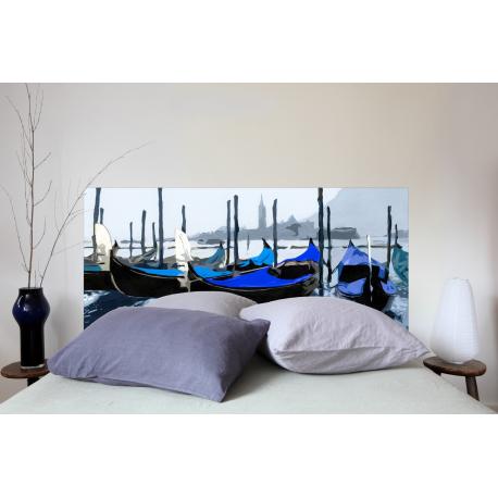 """Tête de lit en tissu """"Gondole Venise Bleue"""""""