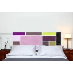 """Tête de lit en tissu """"Poudrées Prune"""""""