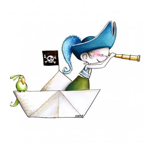 Sticker enfant - Pirate aux aguets