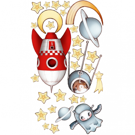 Sticker enfant - Fusée et constellation