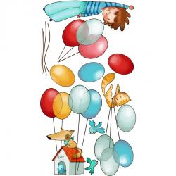 Sticker enfant - Garçon dans les airs
