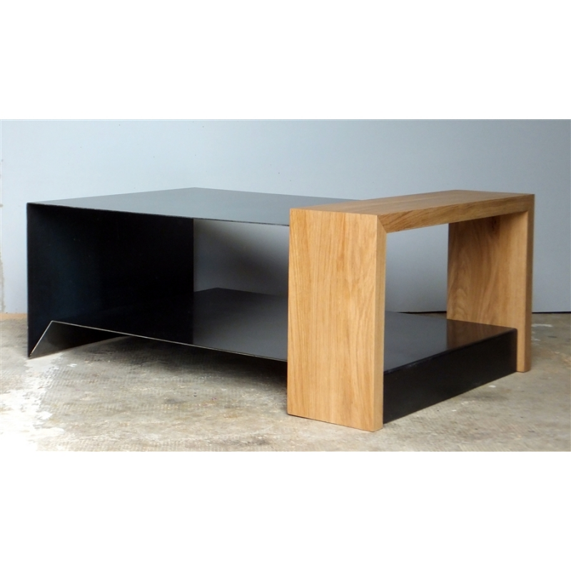 table basse en m tal et bois konnect atelier mobibois. Black Bedroom Furniture Sets. Home Design Ideas