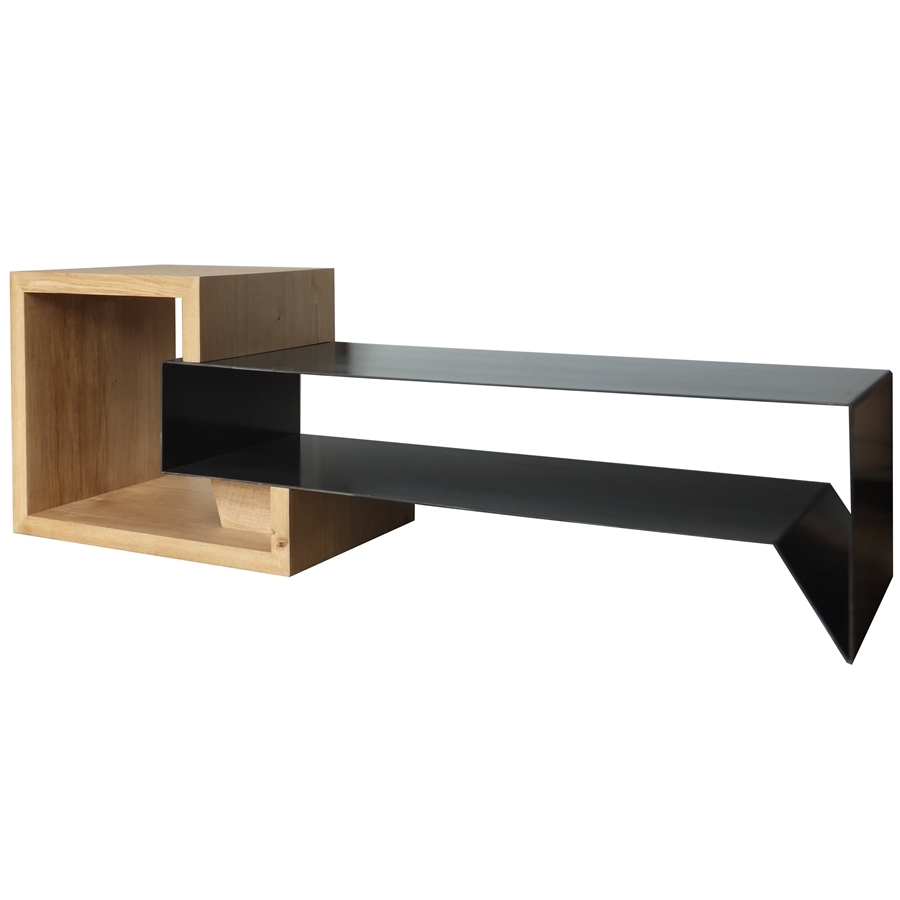 meuble tv en m tal et bois konnect atelier mobibois. Black Bedroom Furniture Sets. Home Design Ideas