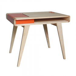 Bureau rétro contemporain en bois Kolorea orange