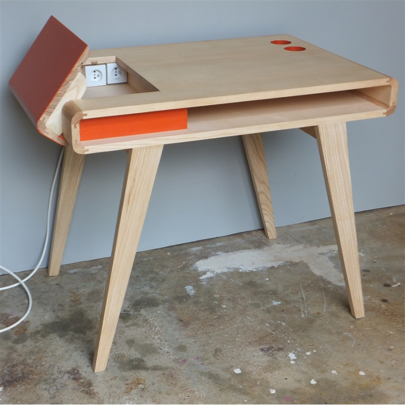 Bureau r tro contemporain en bois kolorea orange atelier mobibois - Decoration bureau contemporain ...