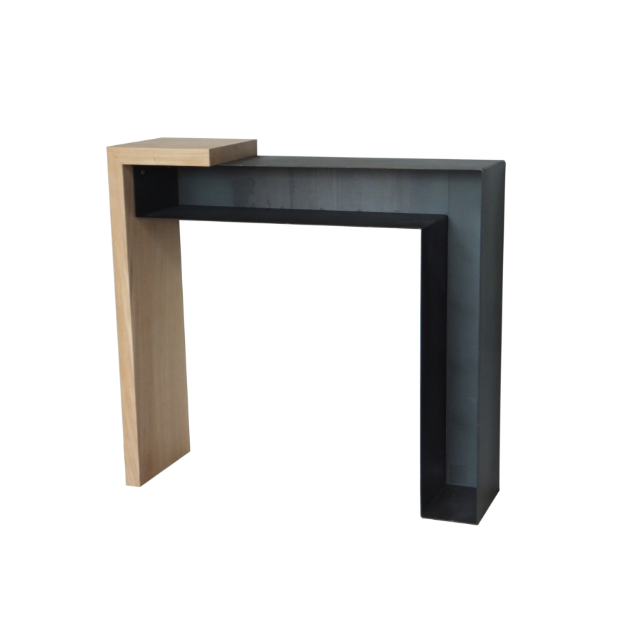 Console design bois et m tal konnect atelier mobibois for Table bois metal design