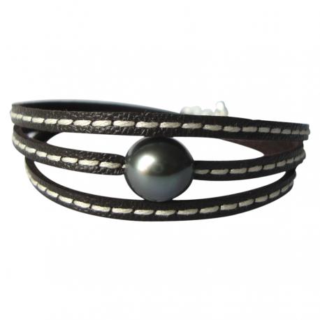 Bracelet femme perle de Tahiti et argent LICOL