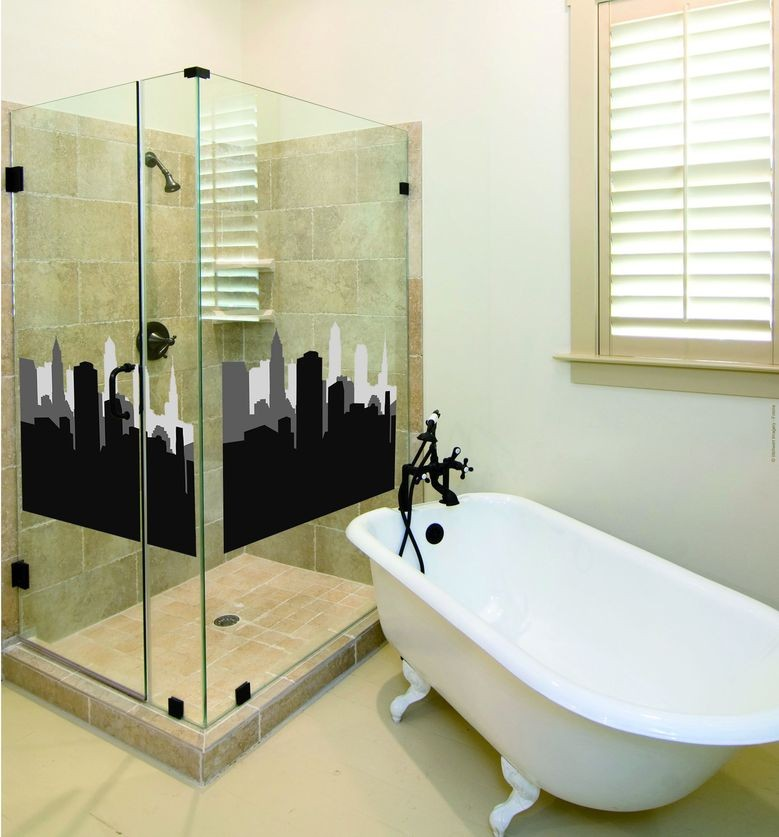 sticker pour paroi de douche mod le new york plage. Black Bedroom Furniture Sets. Home Design Ideas