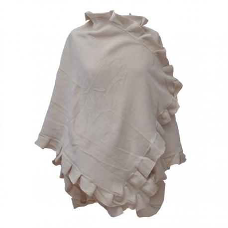 Poncho cape polaire femme sable