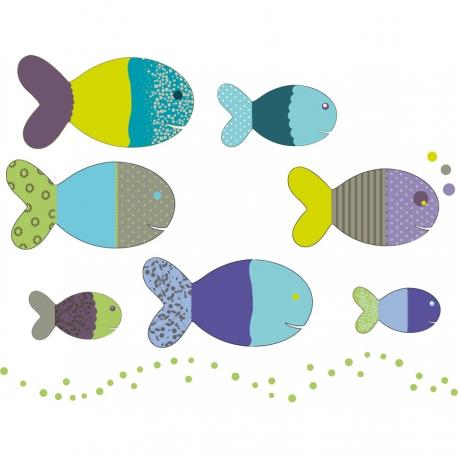 Stickers enfants poissons bleus et verts