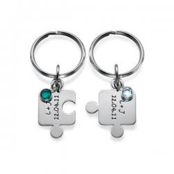 Porte-clés duo personnalisable en argent modèle Puzzle