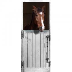 Sticker de portes trompe l'oeil box blanc pour cheval