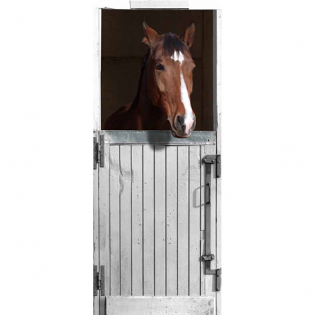 Stickers de porte box blanc pour cheval trompe l 39 oeil for Poster de porte cheval