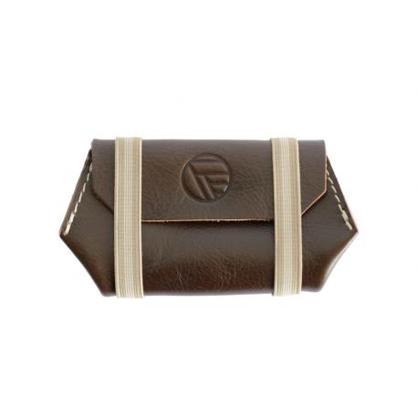 Porte monnaie marron pour Femme en cuir pleine fleur