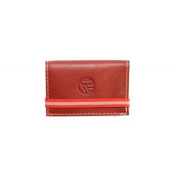 Porte Carte bancaire en cuir pleine fleur rouge