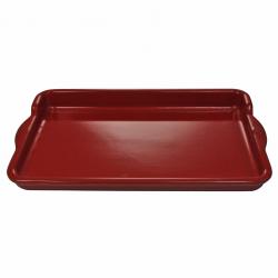 Plancha rectangulaire Terre et Flamme en céramique Rouge 36cm