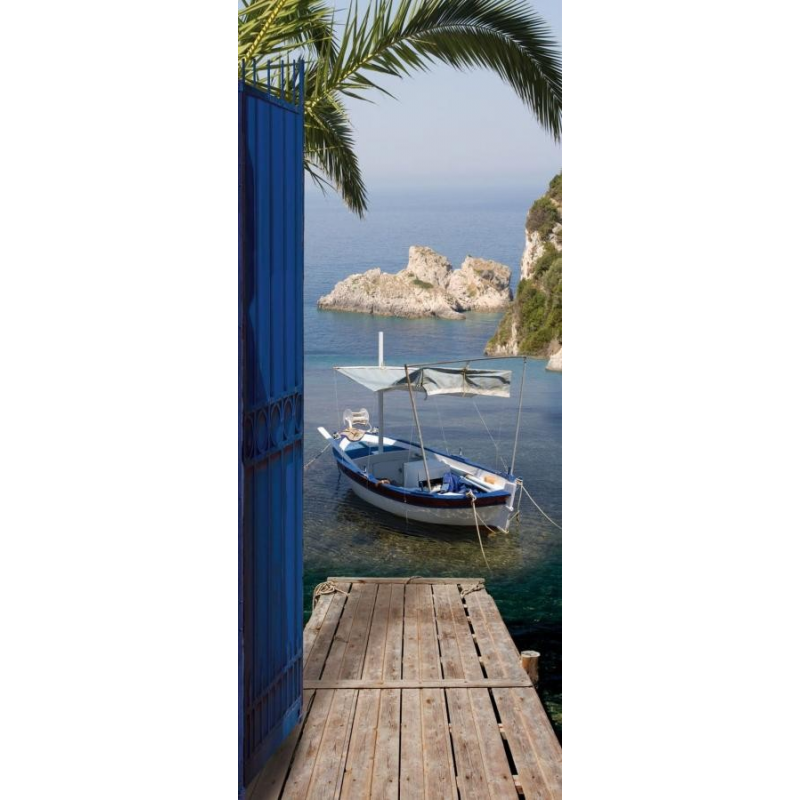 sticker de porte trompe l 39 oeil vue sur mer france avenue. Black Bedroom Furniture Sets. Home Design Ideas