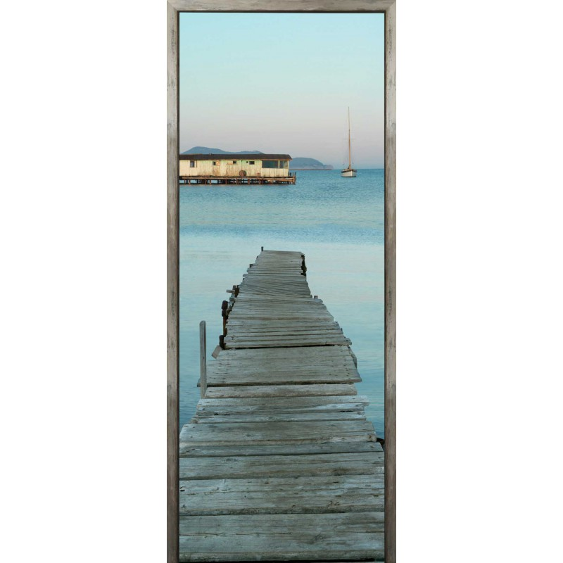 Sticker de porte trompe l 39 oeil ponton bucolique france for Sticker porte plage