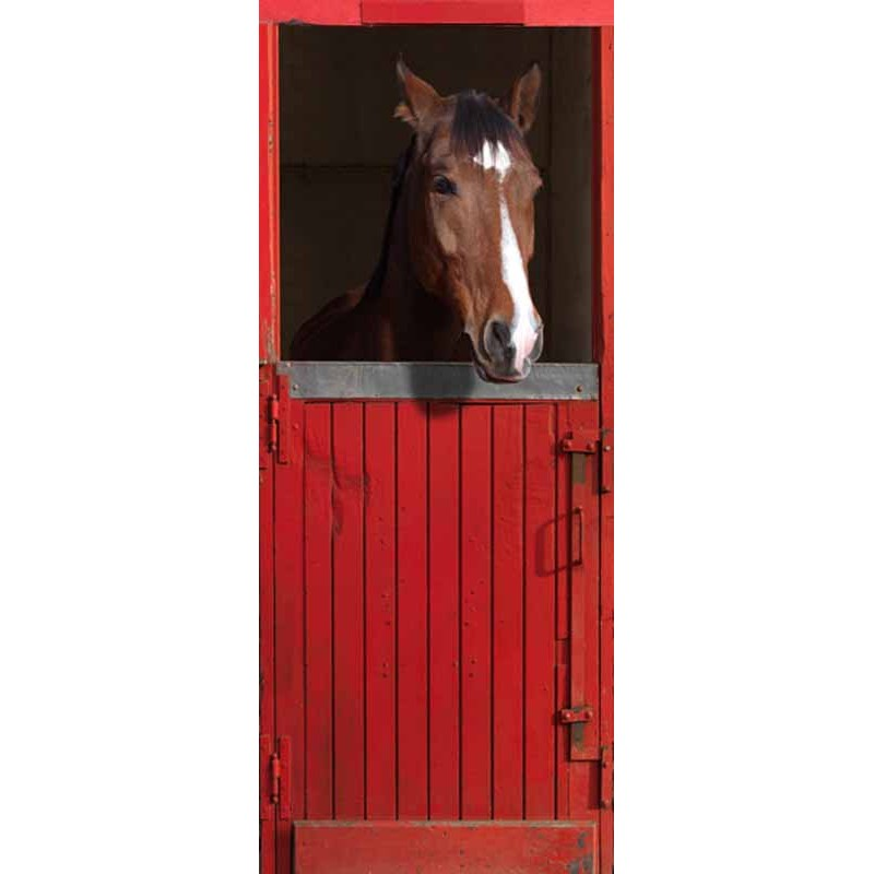 Stickers de porte box rouge pour cheval trompe l 39 oeil for Poster de porte cheval