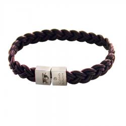 bracelet en cuir pour homme avec fermoir en argent rhodié