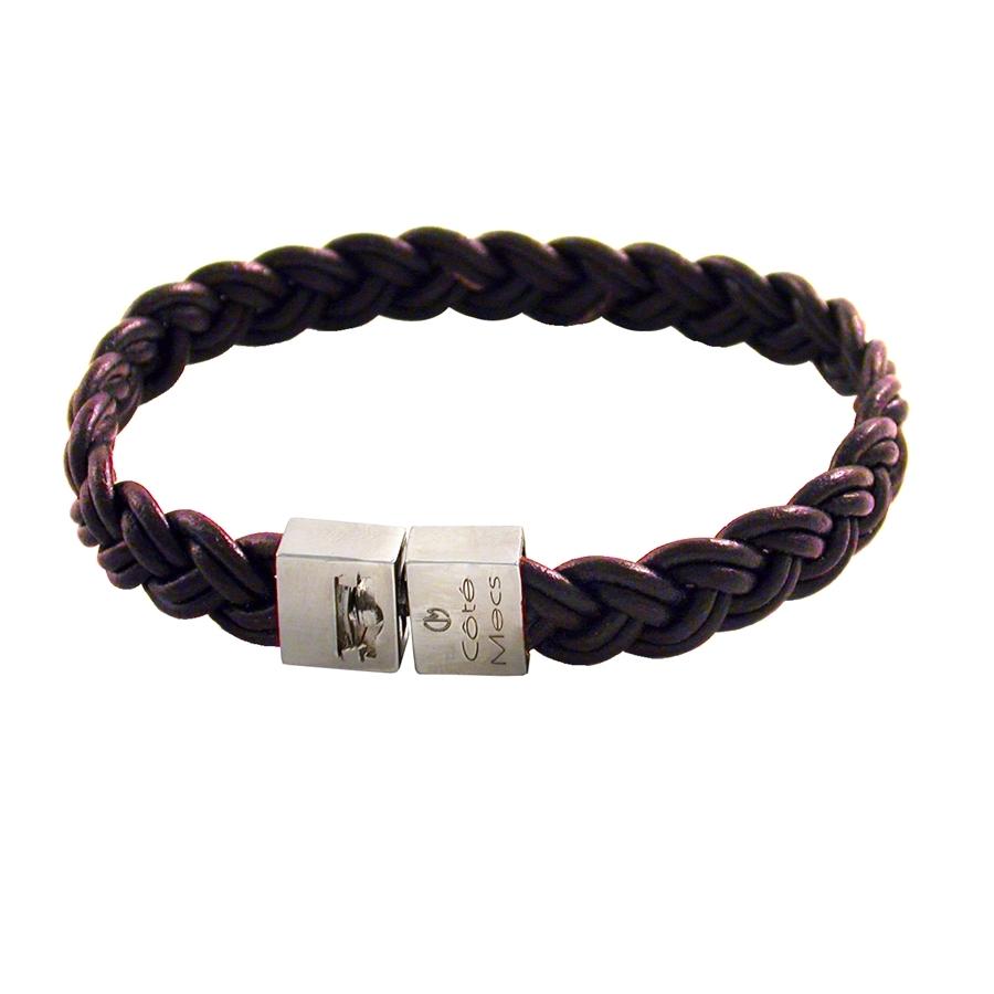 bracelet pour homme en cuir tresse en chanvre et fermoir en argent. Black Bedroom Furniture Sets. Home Design Ideas