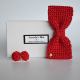 coffret noeud papilllon et boutons de manchettes en crochet bordeau rouge brune made in paris