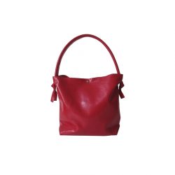 Sac Bonnie Medium Rouge Brillant perforé en cuir brut LIGNE AURORE