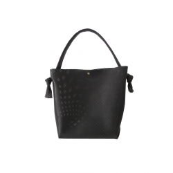 Sac Bonnie Medium en cuir NOIR Perforé LIGNE AURORE