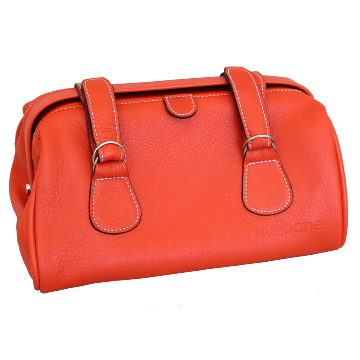 trousse de toilette besace en cuir orange le site du cuir