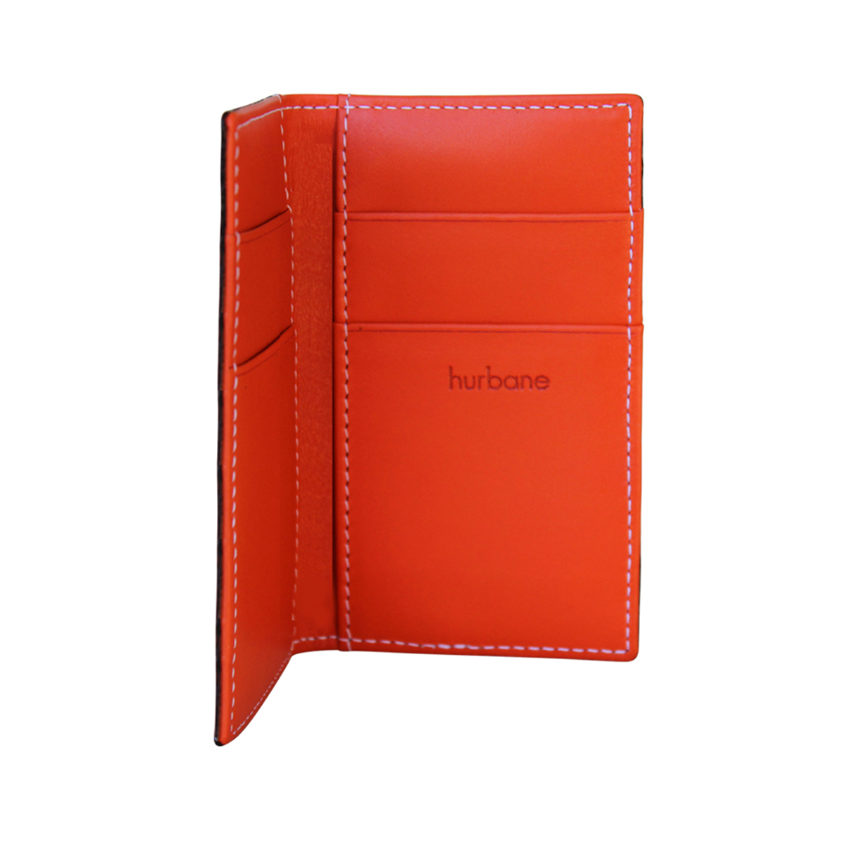 Porte cartes homme cuir orange surpiqu for Porte carte homme