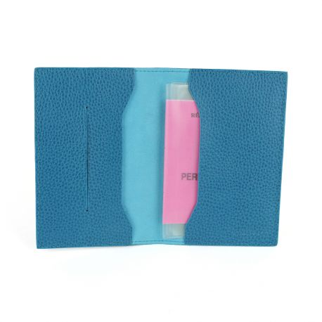 Étui en cuir Tout en Un pour passeport turquoise 1