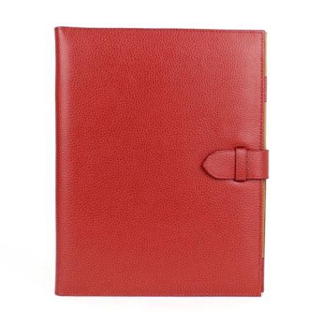 Conférencier en cuir A4 à courrier personnalisable rouge 1