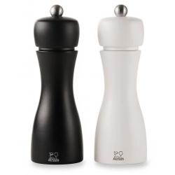 Duo moulins Sel-Poivre Tahiti U'Select en bois de hêtre noir et blanc