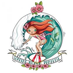 "Sticker Géant ""Beach paradise girl"" 104cm x 120cm"