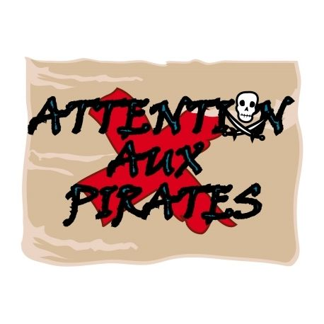 "Sticker Déco porte ""attention pirate"""