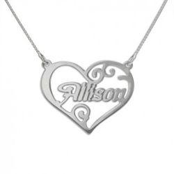 """Collier prénom """"Mon coeur d'argent"""""""