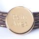 Bracelet Amazone Médaille en plaqué or et cuir à personnaliser
