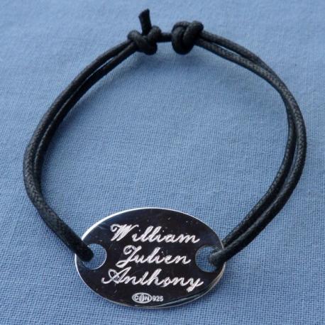 Bracelet Enfant Maldives Médaille ovale argent à personnaliser