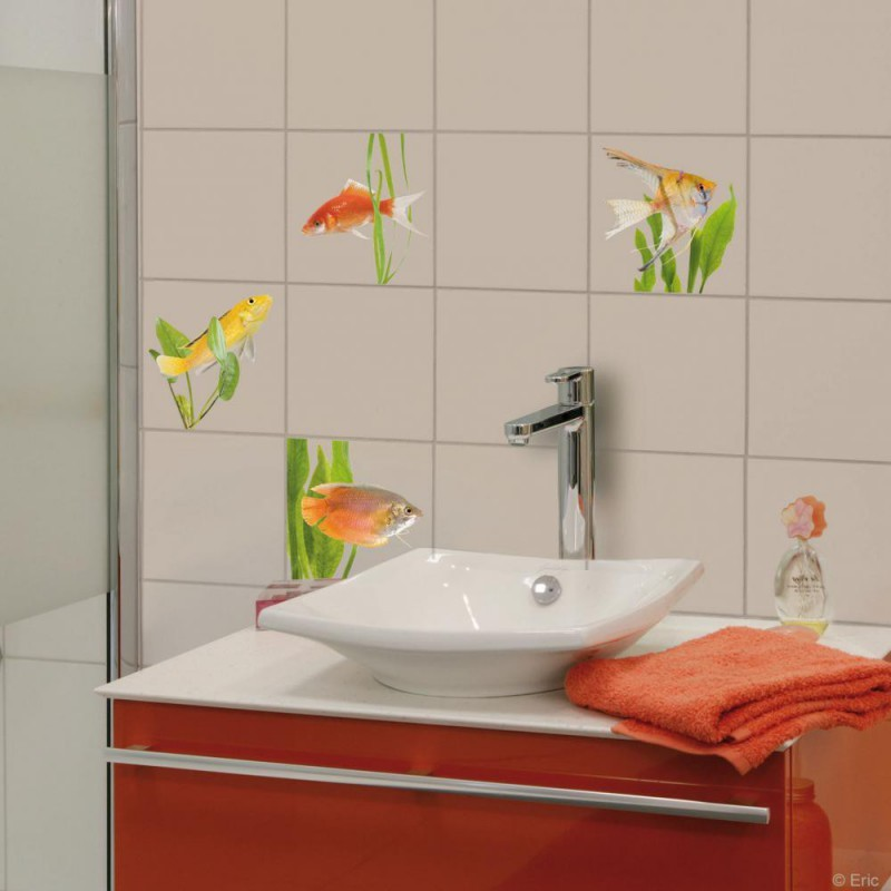 Stickers carrelage mural poissons d 39 eau douce de plage sticker made in france sur france avenue - Enlever carrelage mural salle de bain ...