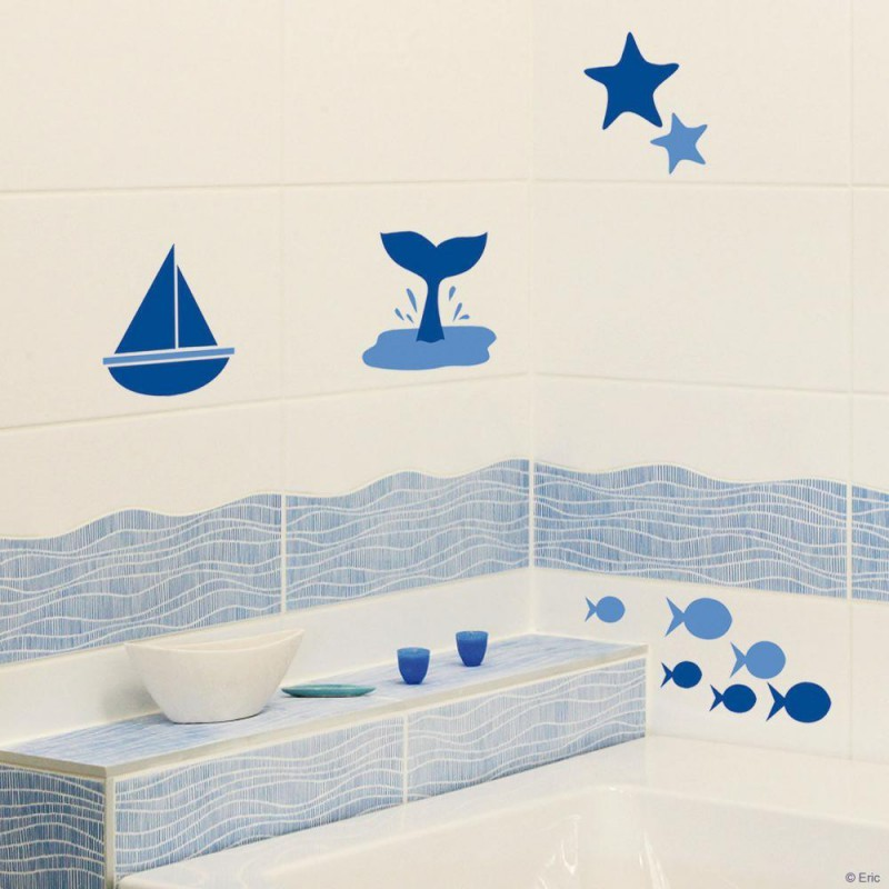 Stickers carrelage mural au bord de la mer de plage for Deco salle de bain stickers