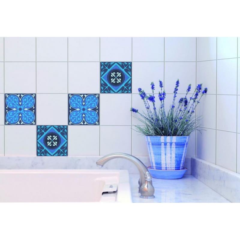 Stickers pour carrelage mural carreaux ciment de plage sticker made in fran - Stickers carreaux salle de bain ...