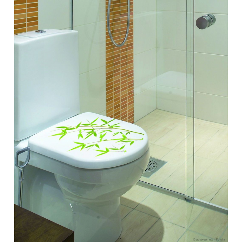 Sticker abattant wc bambou de plage stickers wc de cr ation 100 fran aise sur france avenue - Stickers abattant wc ...