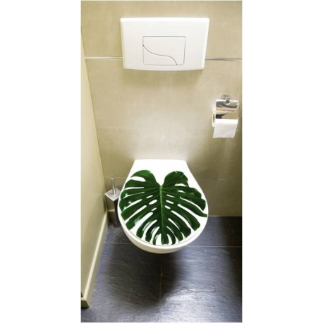 Sticker pour abattant wc feuille tropicale de plage stickers wc 100 made in france sur france - Stickers abattant wc ...