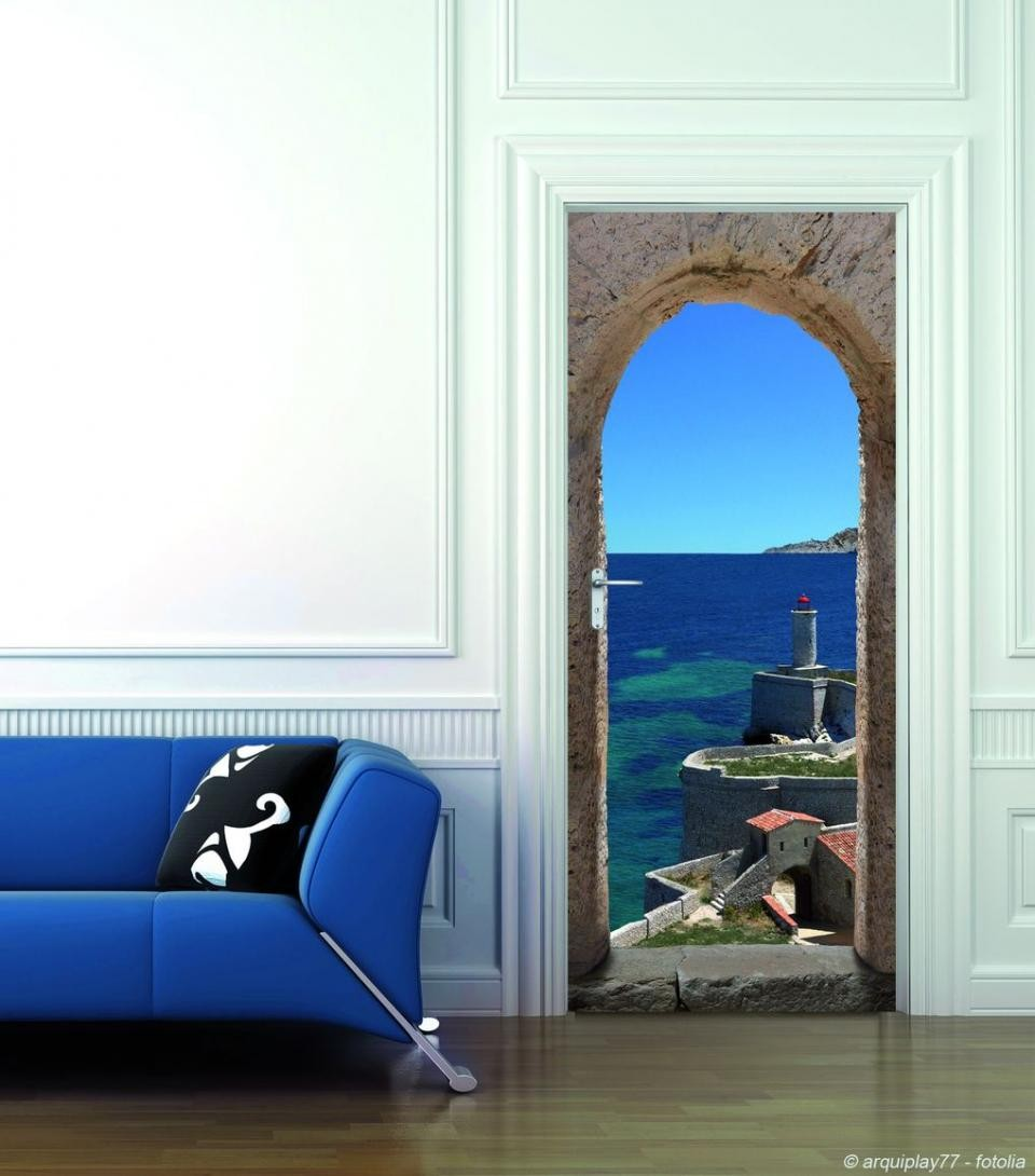 stickers de porte trompe l 39 oeil chemin de ronde france avenue. Black Bedroom Furniture Sets. Home Design Ideas