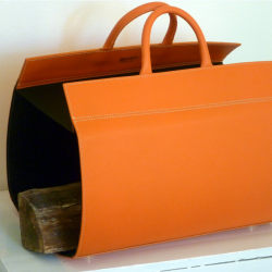 Range bûches cuir orange